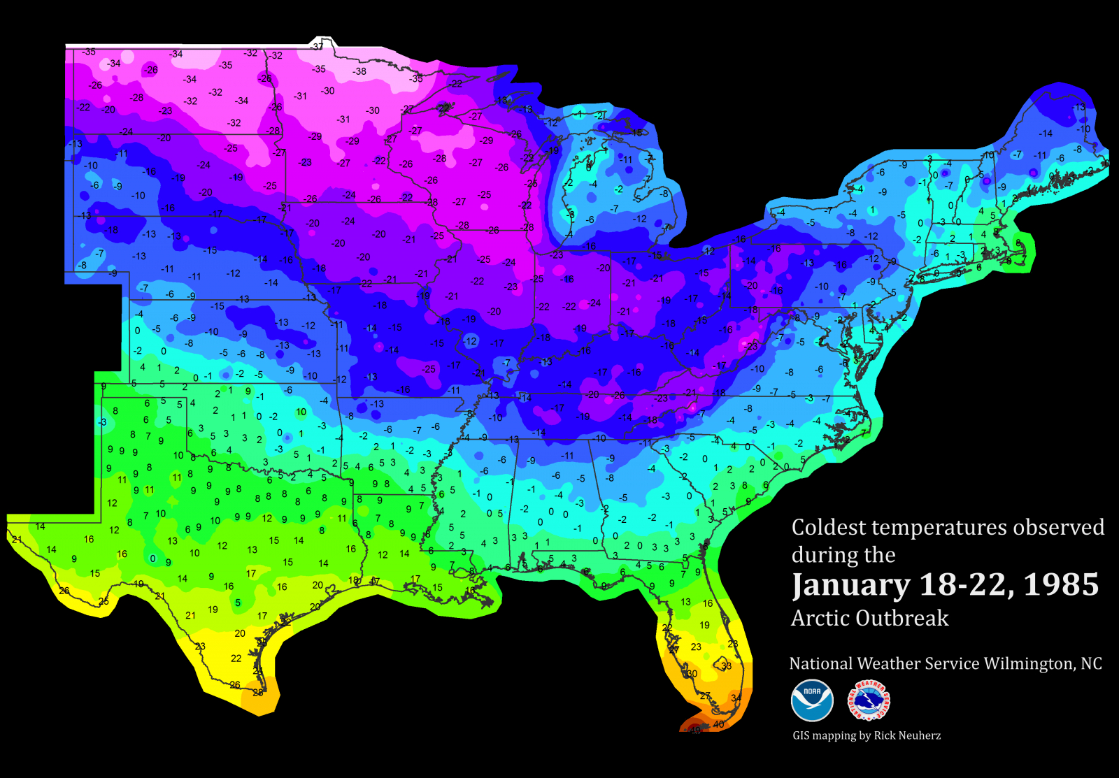 January 1985 Record-Breaking Cold - Florida Temp Map