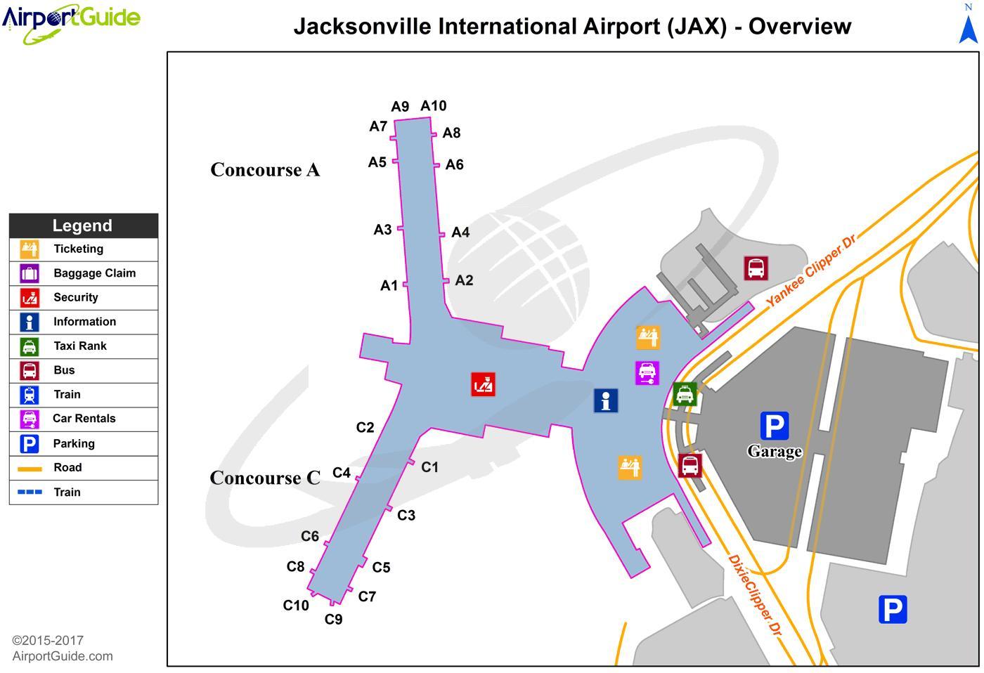 Jax Airport Map - Jacksonville Fl Airport Map (Florida - Usa) - Florida Airports Map