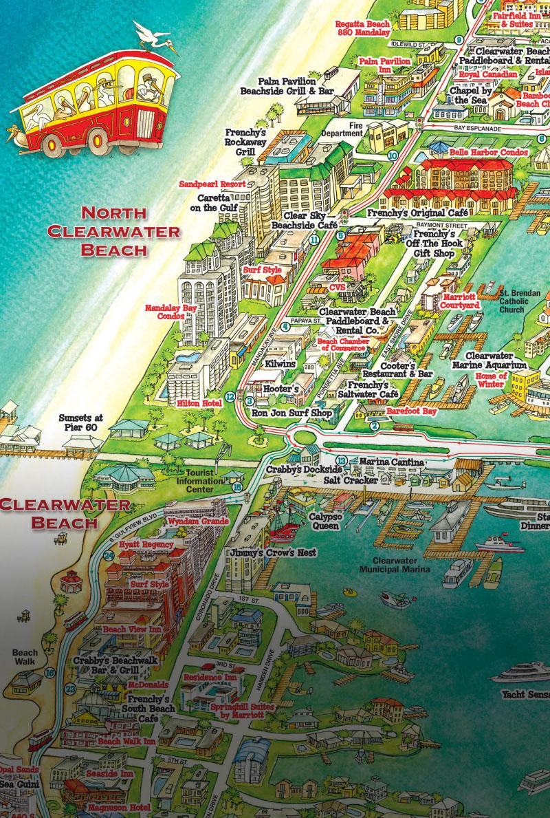 Jolley Trolley – Welcome Aboard Clearwater Jolley Trolley! - Clearwater Beach Florida Map