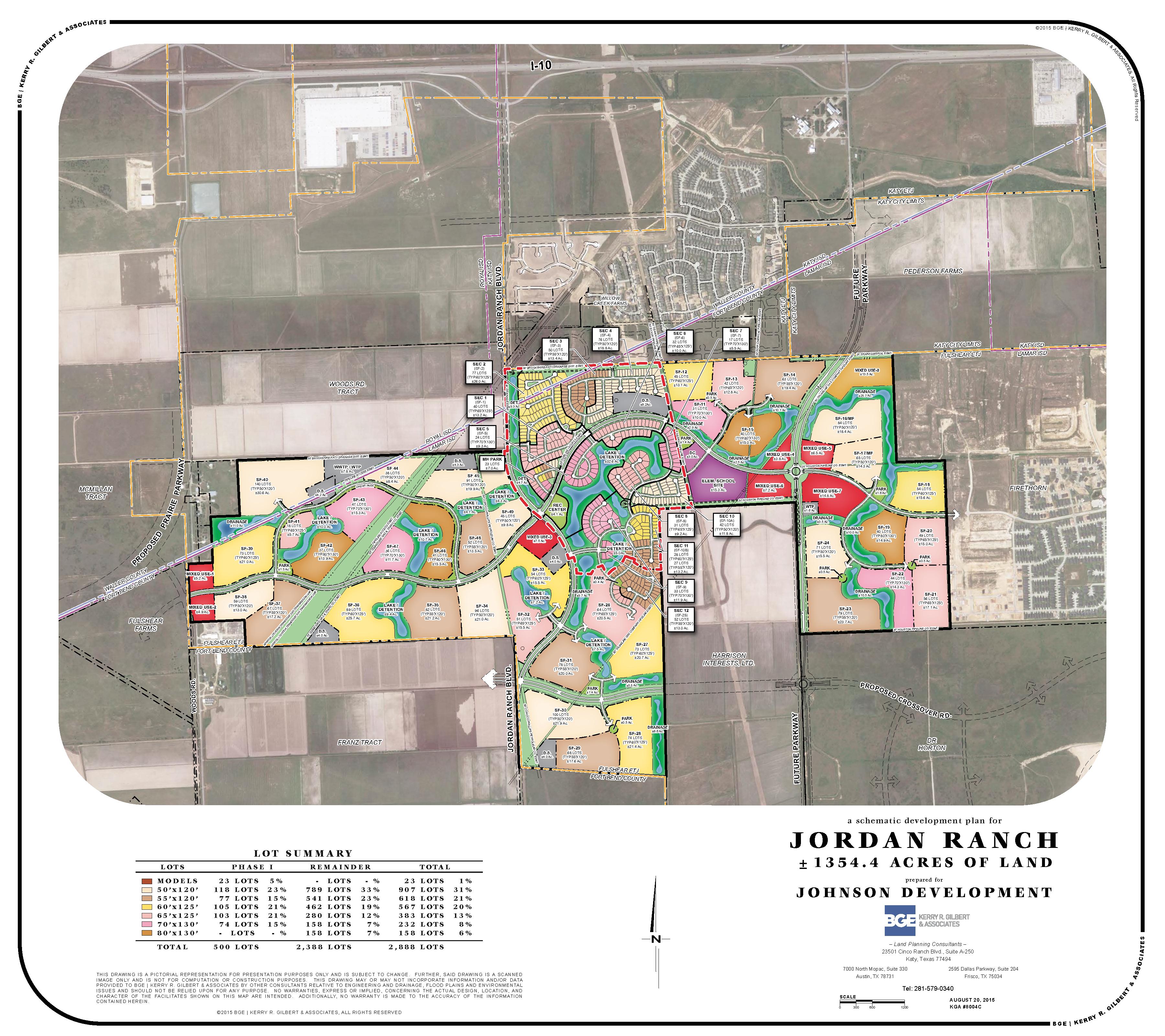 Jordan Ranch | Katy Commercial Real Estate | Johnson Development Corp. - Texas Grand Ranch Map