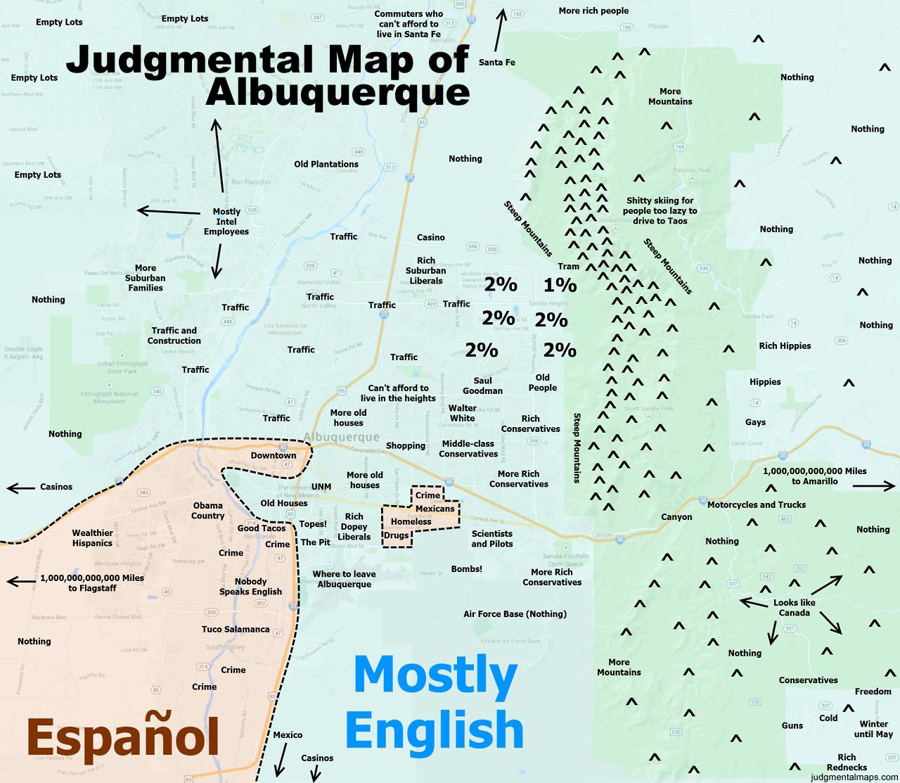 Judgmental Maps — Albuquerque, Nm #1Lane Bechelli Copr. 2014 - Printable Map Of Albuquerque