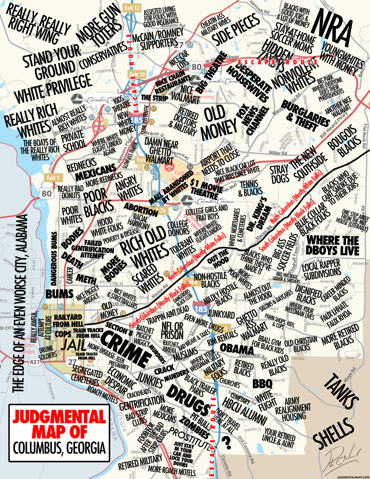 Judgmental Maps — Columbus, Gaa Disgruntled Citizen Copr. 2014 - Printable Map Of Columbus Ga