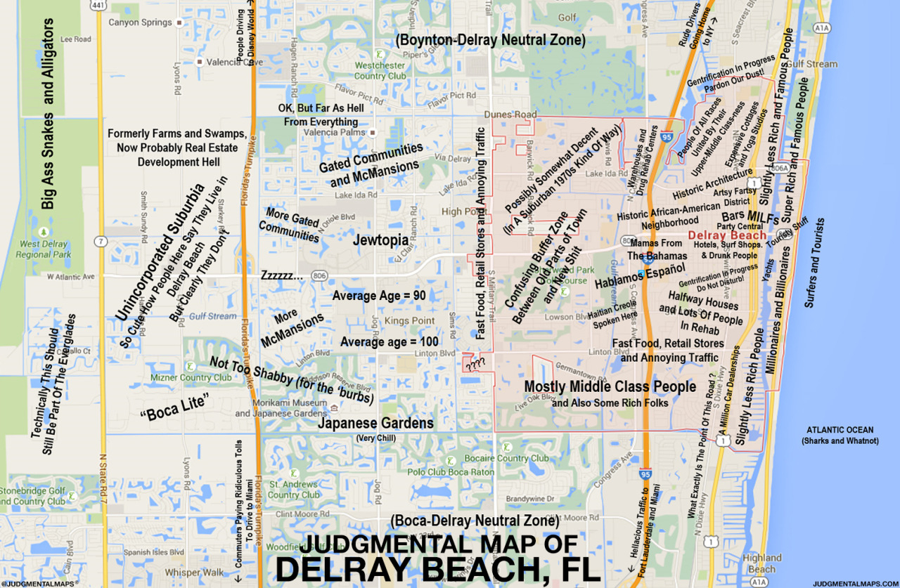 Judgmental Maps — Delray Beach, Flel Jefe Copr. 2015 El Jefe. - Del Ray Florida Map