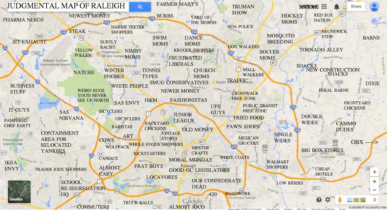 Judgmental Maps — Raleigh, Ncsea Dragon Copr. 2014 Sea Dragon. - Printable Map Of Raleigh Nc
