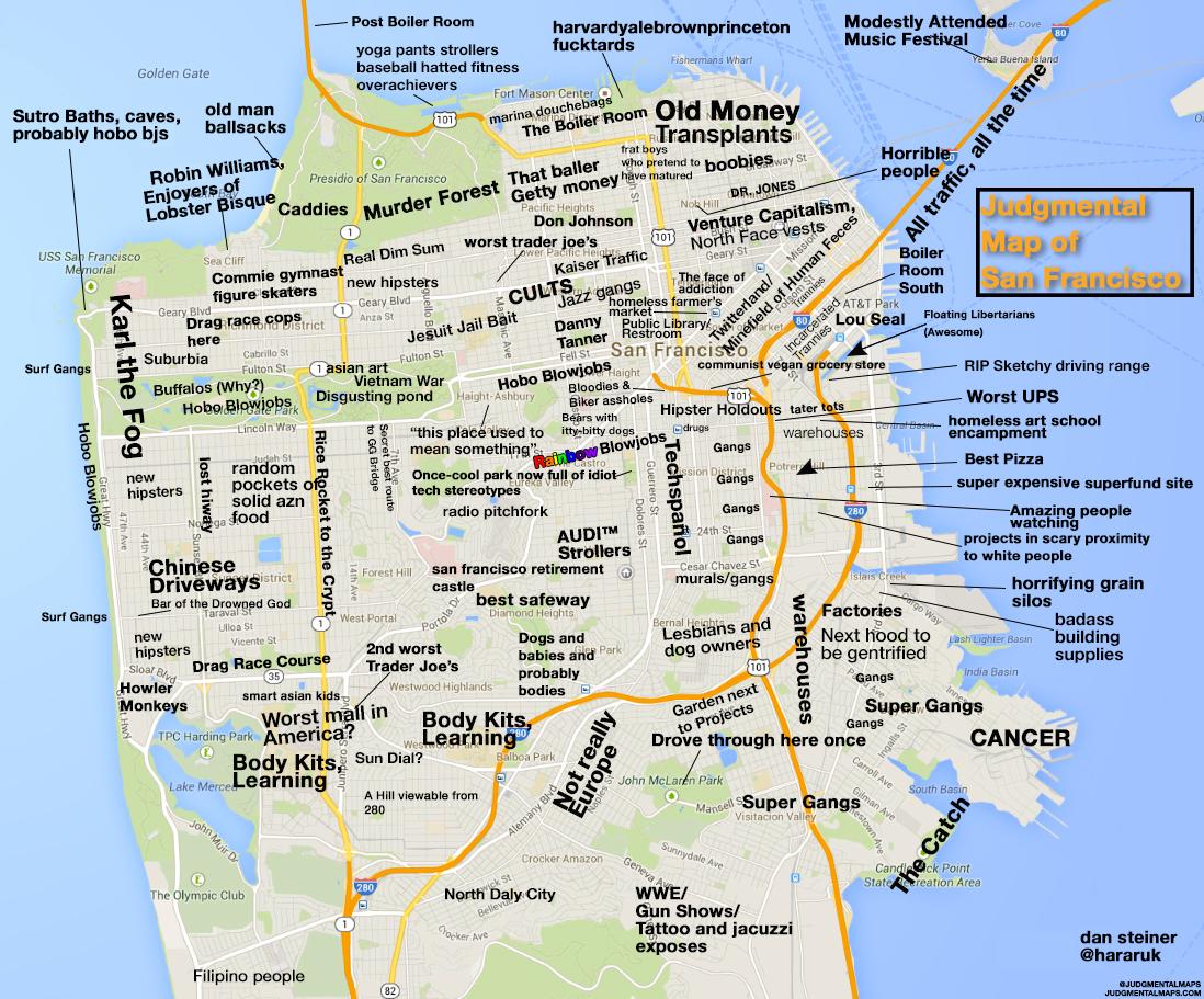 Judgmental Maps — San Francisco, Cadan Steiner Copr. 2014 Dan - Map Of California Near San Francisco