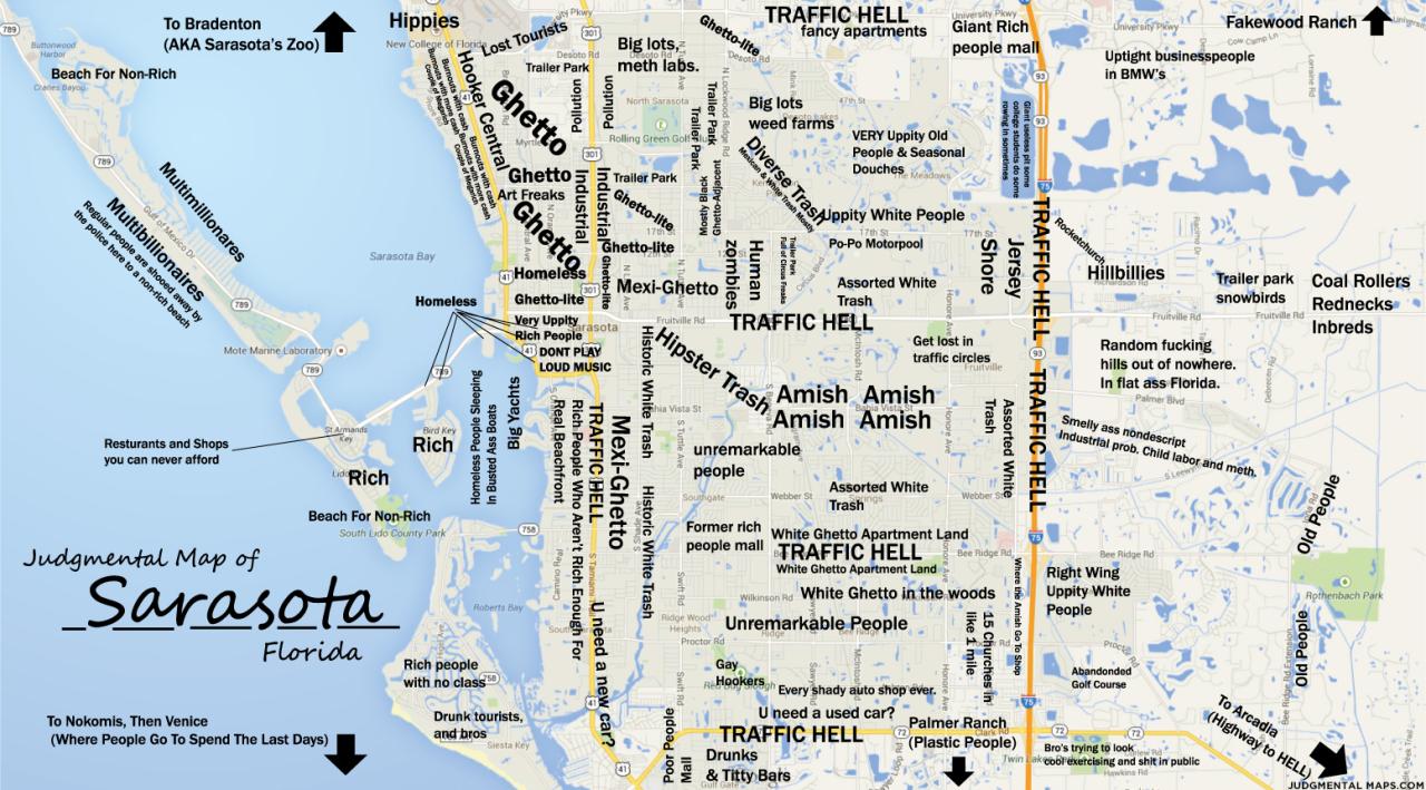 Judgmental Maps — Sarasota, Fltony Copr. 2014 Tony. All Rights - Where Is Sarasota Florida On The Map