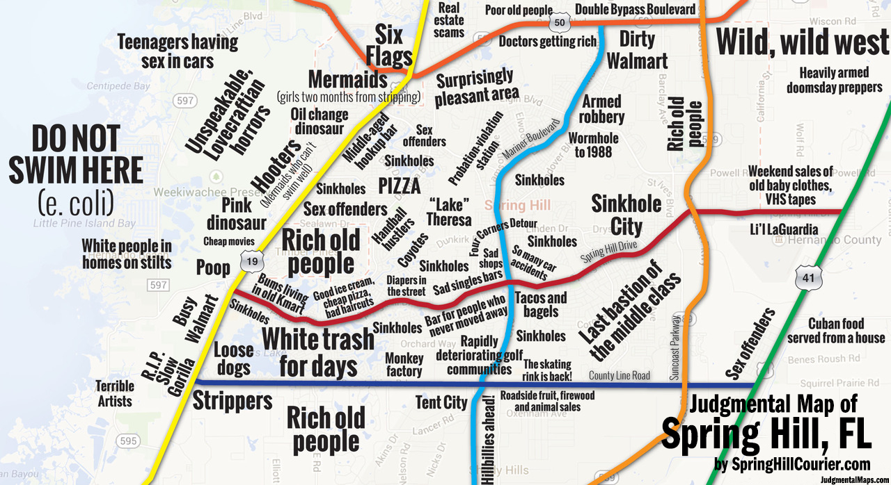 Judgmental Maps — Spring Hill, Flspring Hill Courier Copr. 2014 - Springs Map Florida
