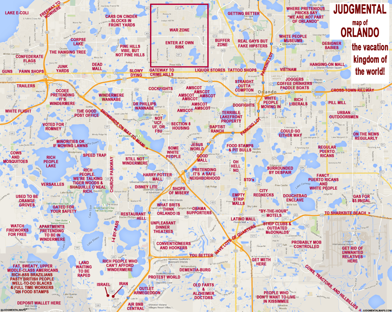 """Judgmental Maps"""" Takes On Orlando With Hilariously Offensive Results - Map Of Orlando Florida Area"""