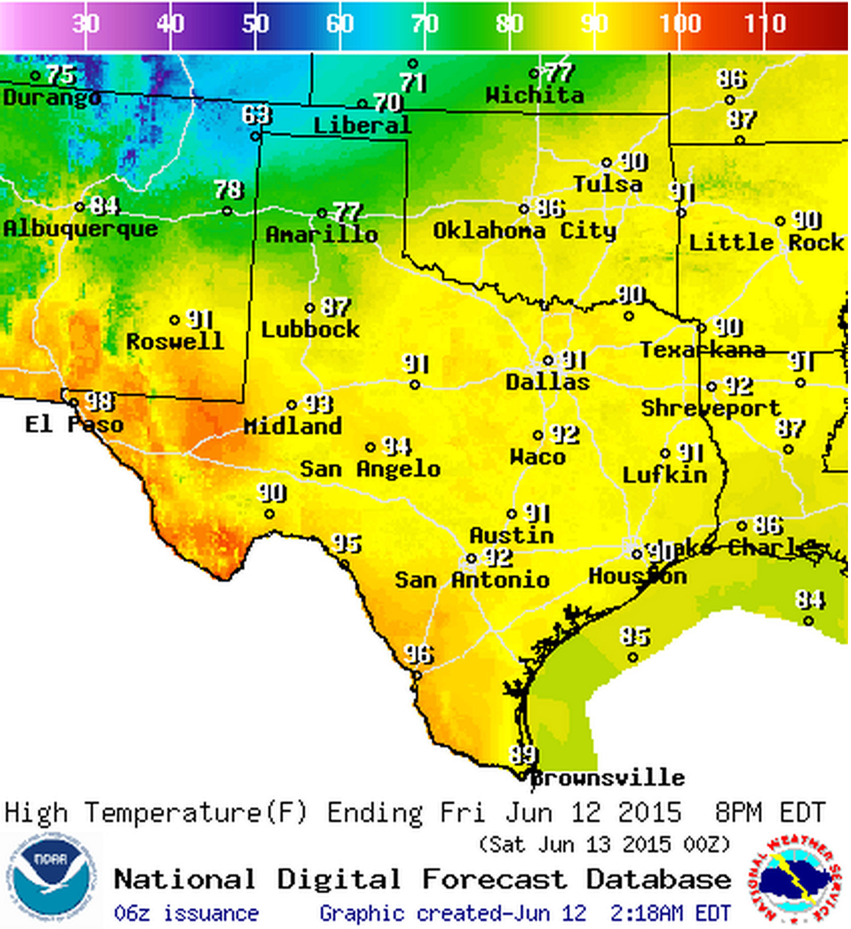 June 12, 2015 Texas Weather Roundup & Forecast • Texas Storm Chasers - Texas Weather Map