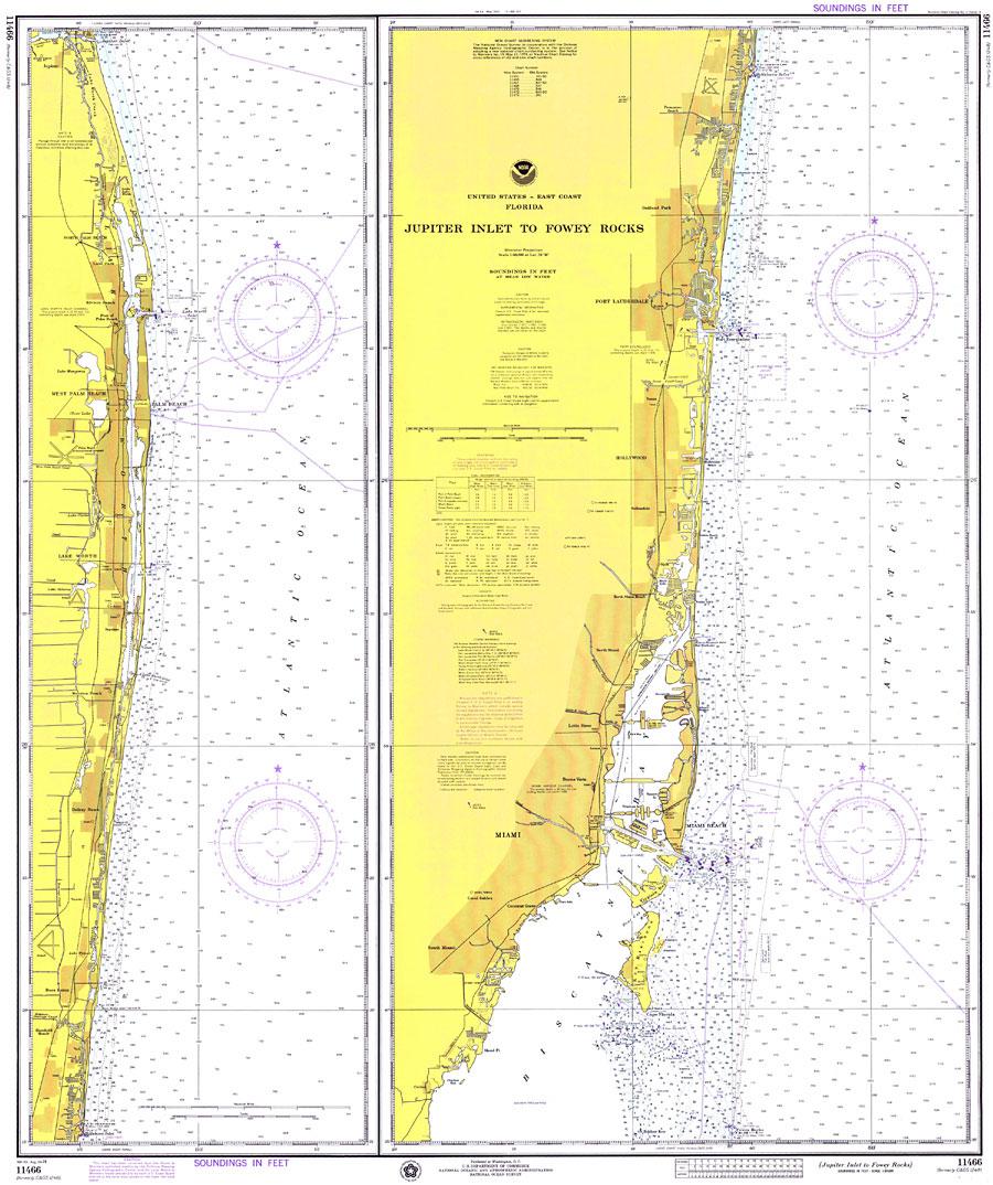 Jupiter Inlet To Fowey Rocks, 1974 - Jupiter Inlet Florida Map