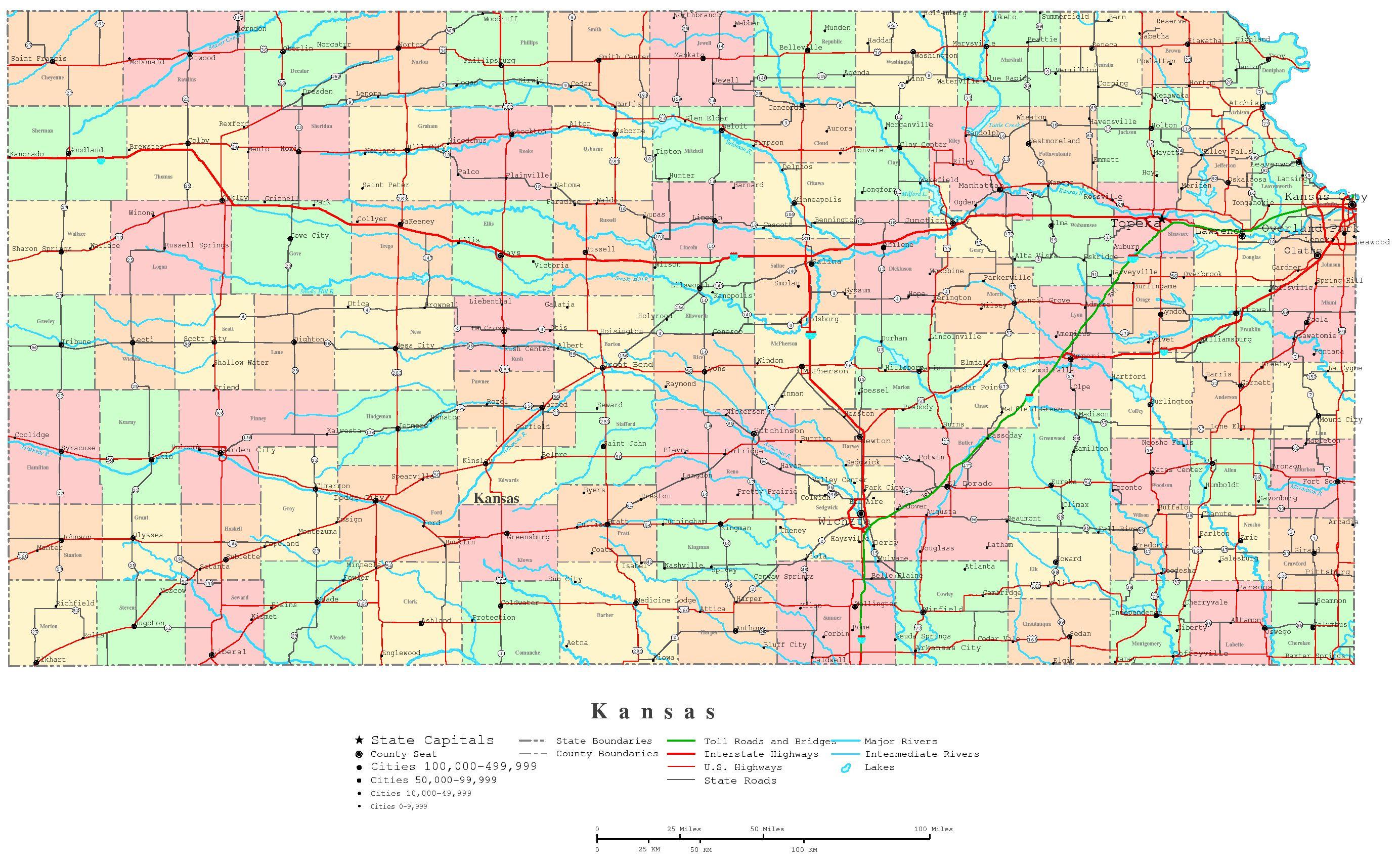 Kansas Printable Map - Printable Map Of Kansas