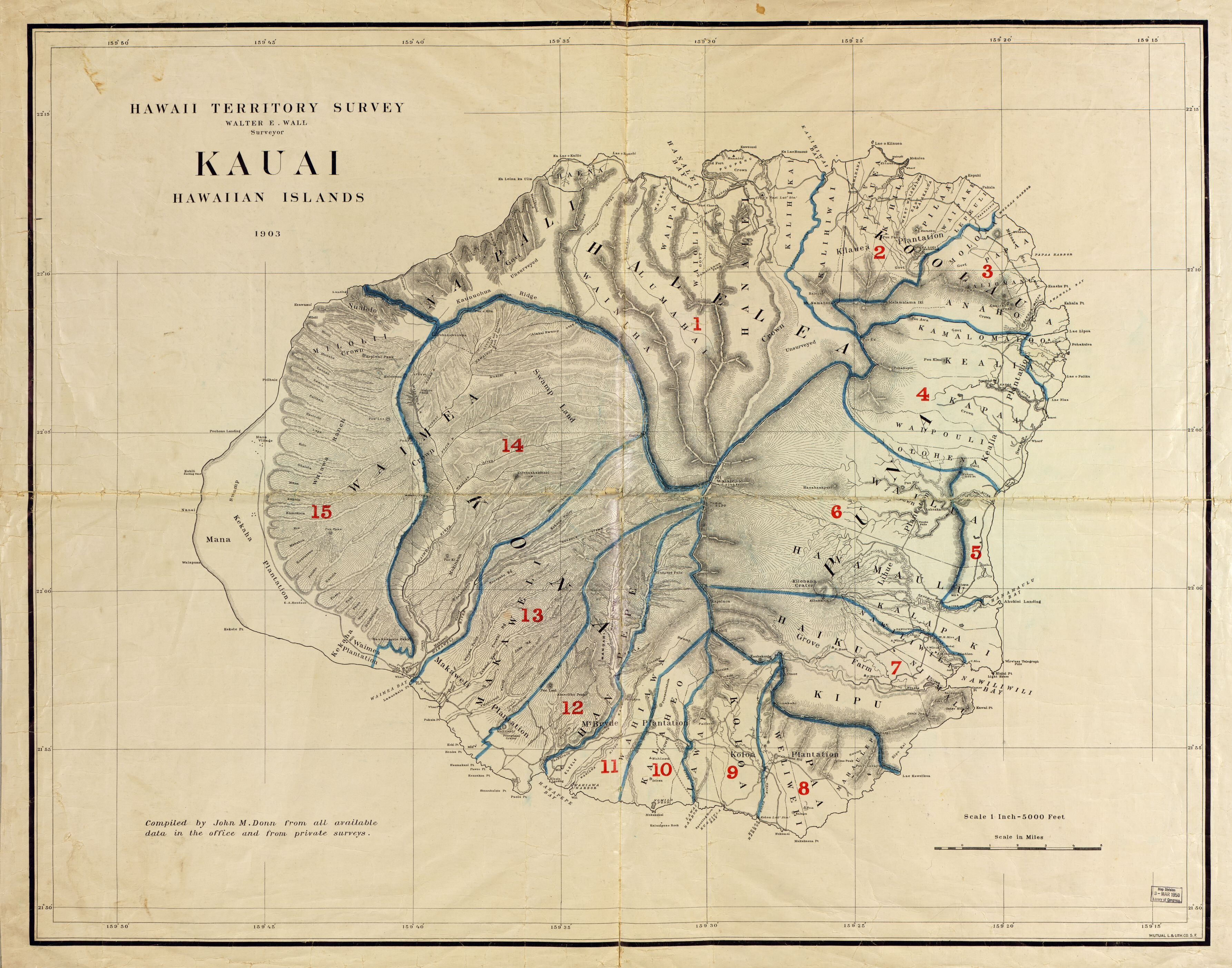 Kauai, Hawaiian Islands, 1903 / $C Walter E. Wall, Surveyor - Printable Map Of Kauai