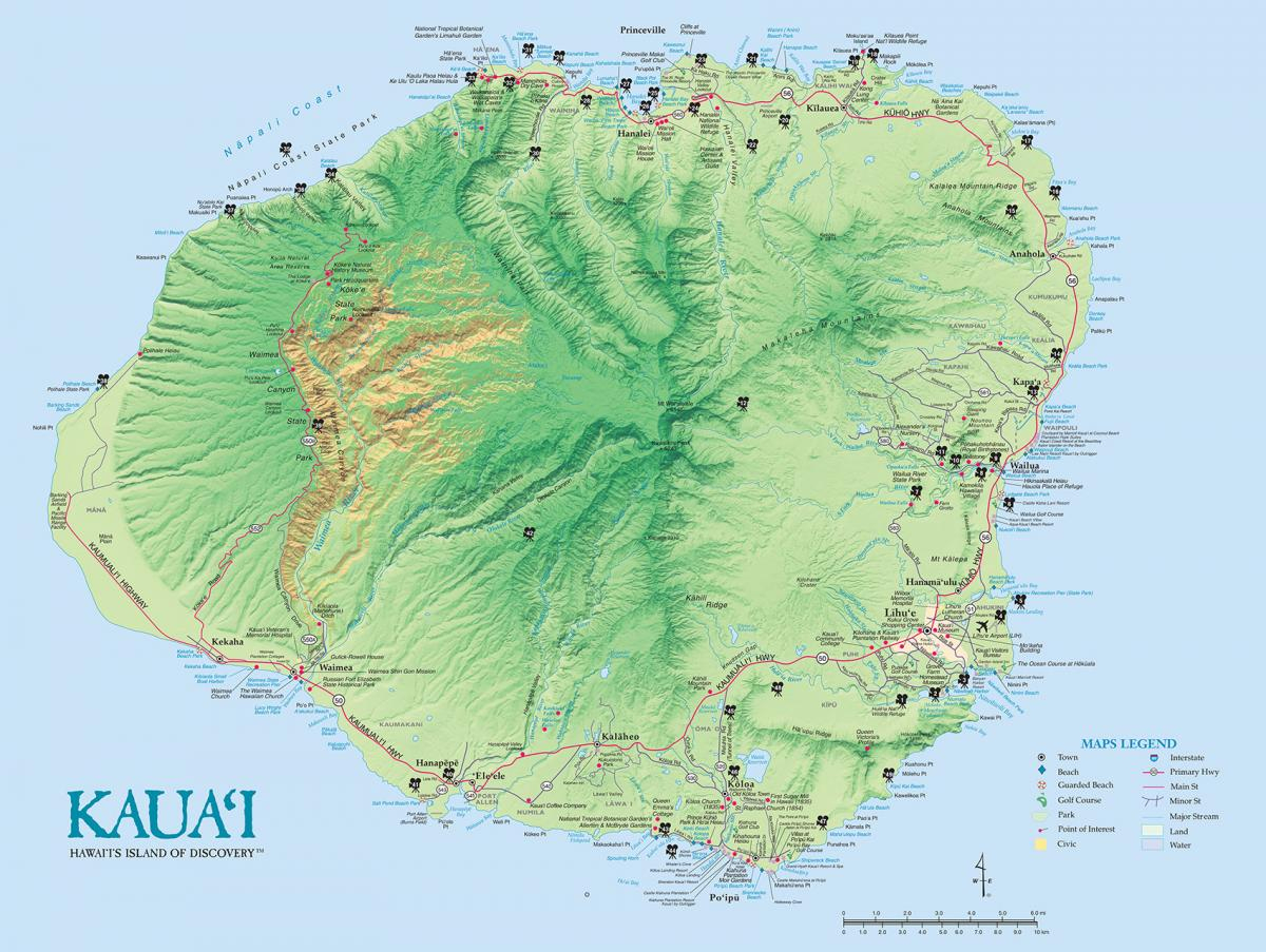 Kauai Island Maps & Geography | Go Hawaii - Printable Road Map Of Kauai