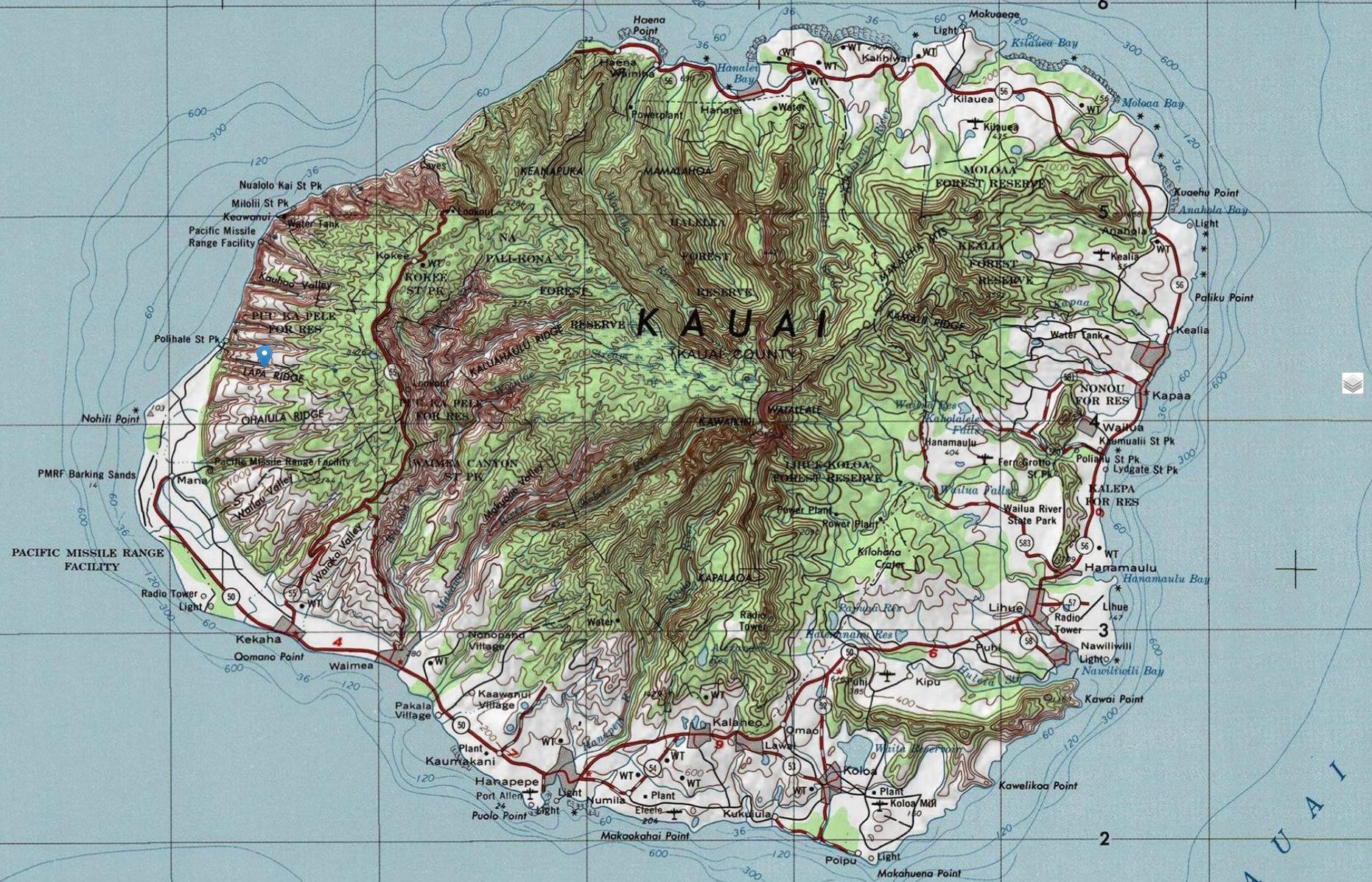 Kauai Topographic Maps - Printable Map Of Kauai