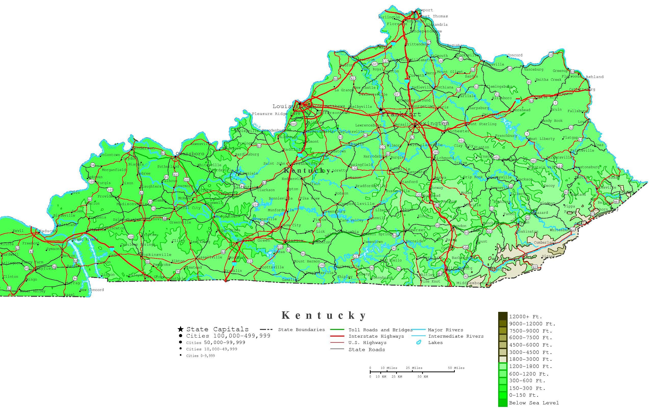 Kentucky Printable Map - Printable Map Of Bowling Green Ky