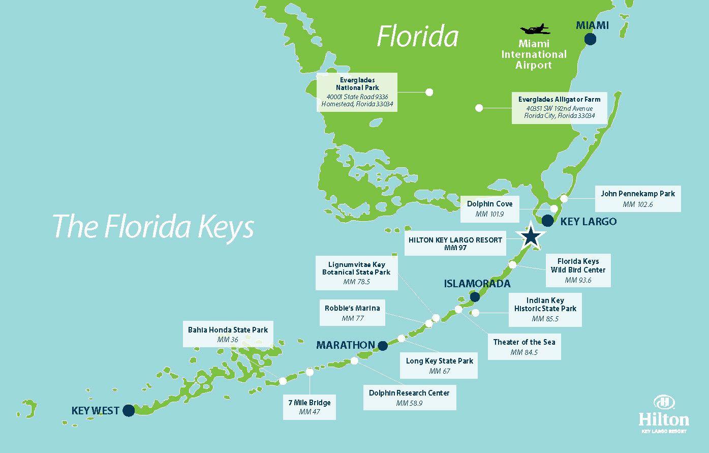 Key Largo Attractions- Hilton Key Largo Resort- Activities, Tourist - Map Of Florida Keys Resorts