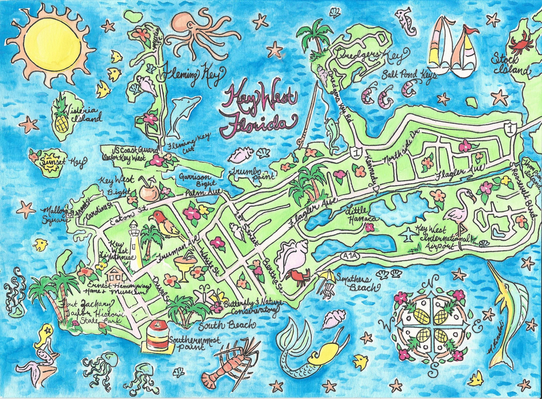 Key West Florida Watercolor Map Art Print | Etsy - Florida Map Art
