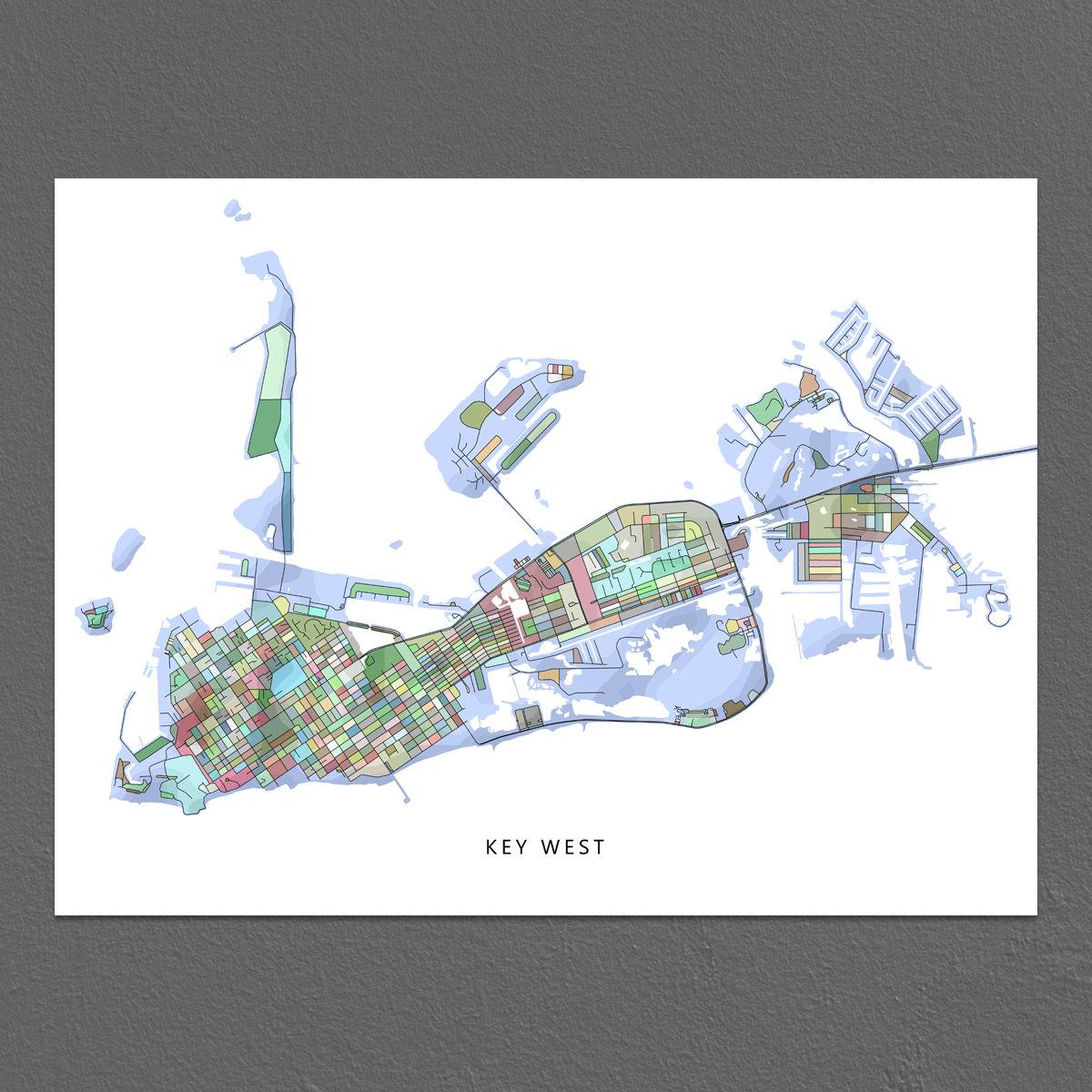 Key West Map Key West Art Print Florida Keys Map Key West | Etsy - Florida Keys Map Art