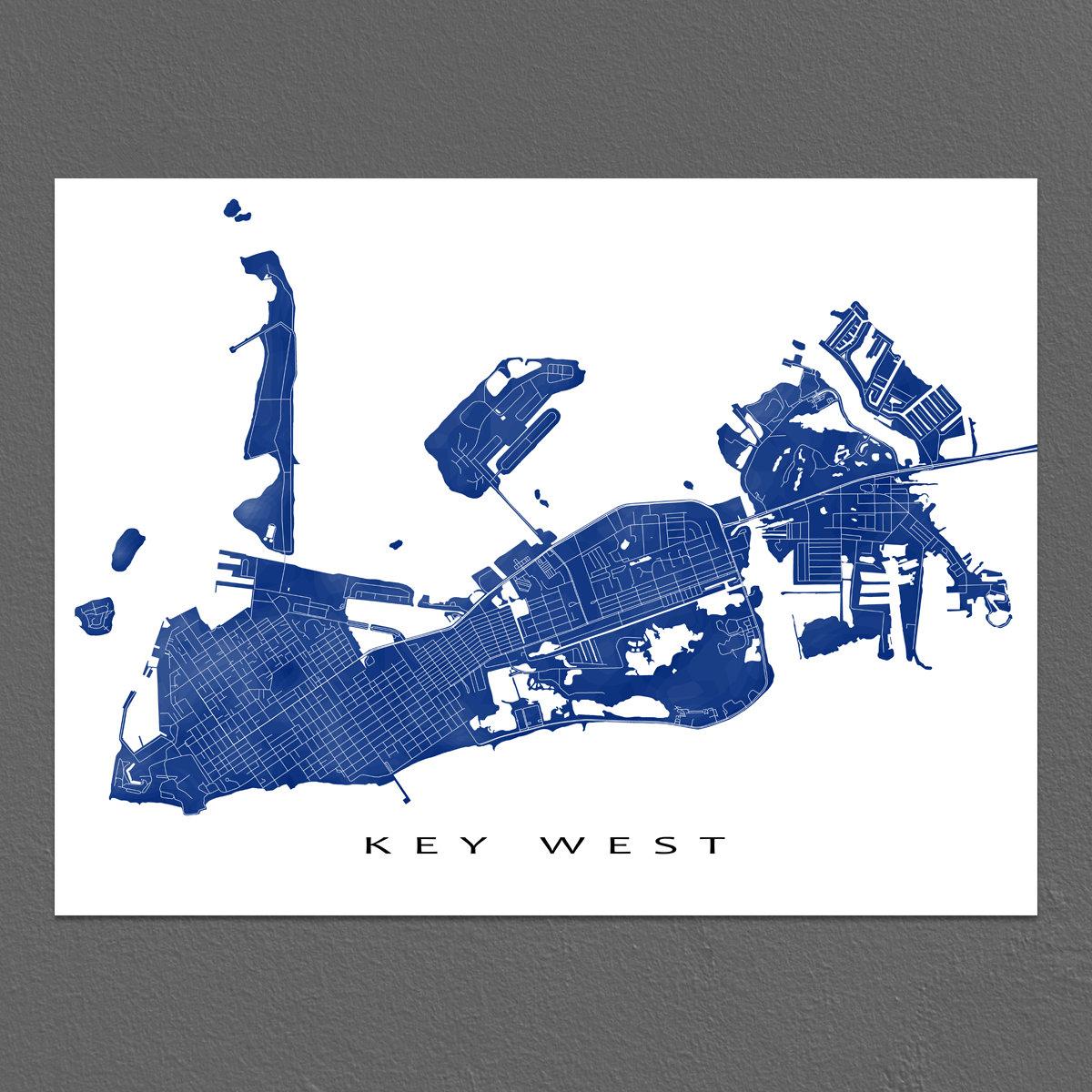 Key West Map Print Key West Florida Keys Art Key West Decor | Etsy - Florida Keys Map Art