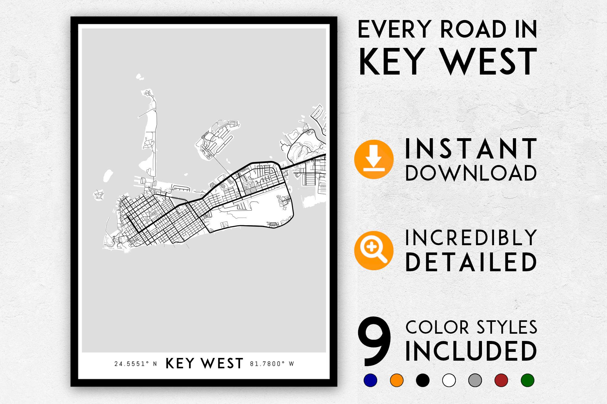 Key West Map Print Key West Print Florida Keys Map Key West | Etsy - Florida Keys Map Poster