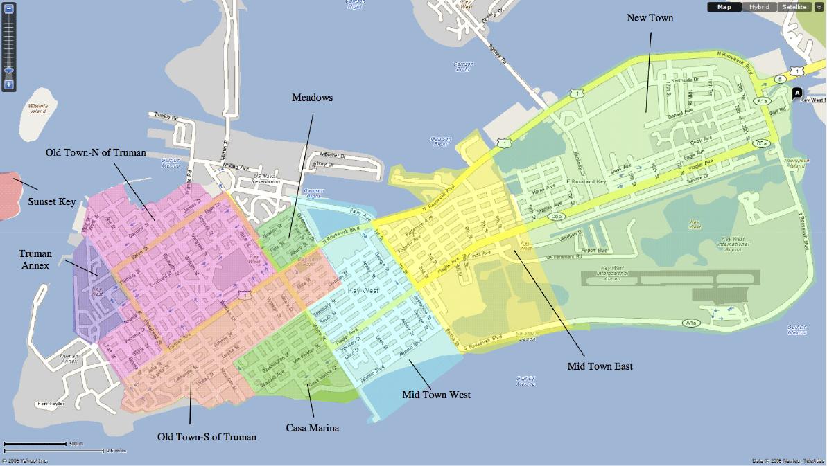 Key West Neighborhoods & Map - Florida Keys Islands Map