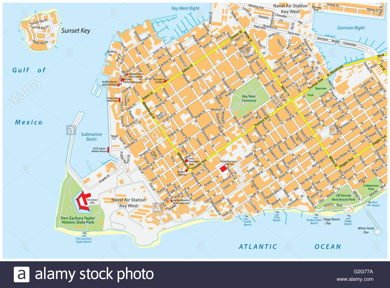 Key West Road Map With Road Names, Florida, United States Stock - Street Map Of Key West Florida
