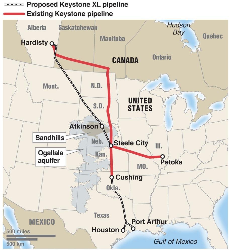 Keystone Xl Pipeline Construction Back On The Drawing Board, States - Keystone Pipeline Map Texas