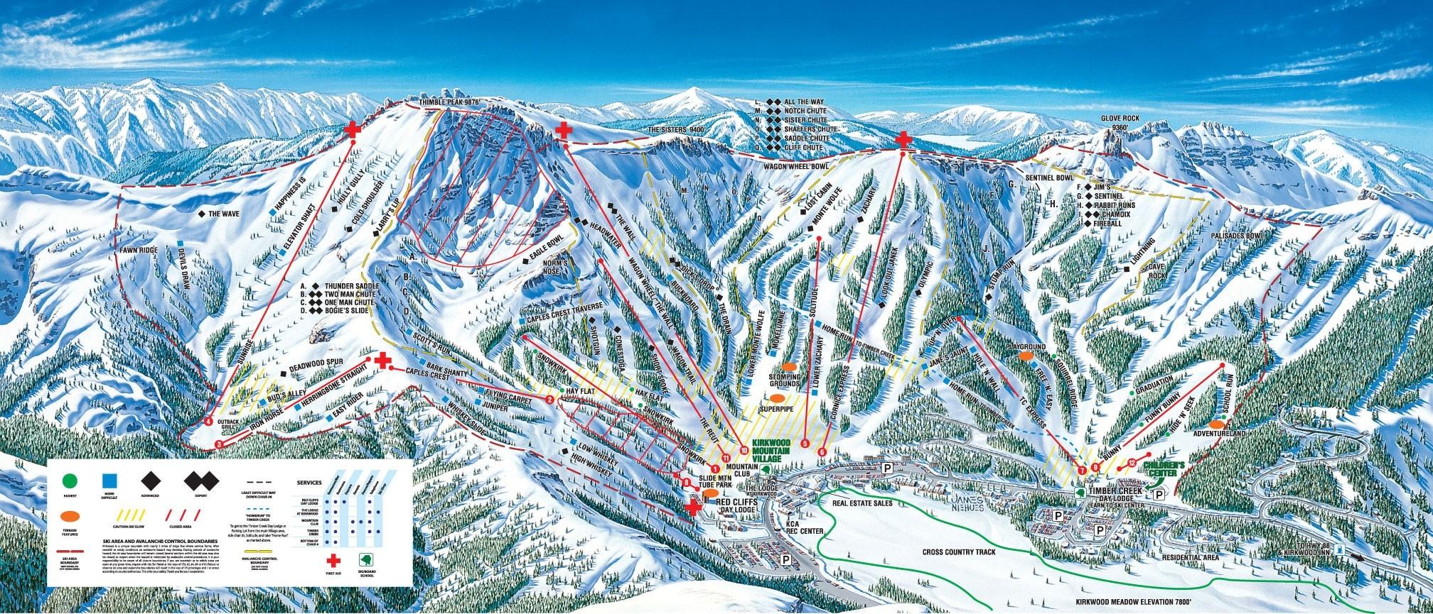 Kirkwood • Ski Holiday • Reviews • Skiing - Kirkwood California Map
