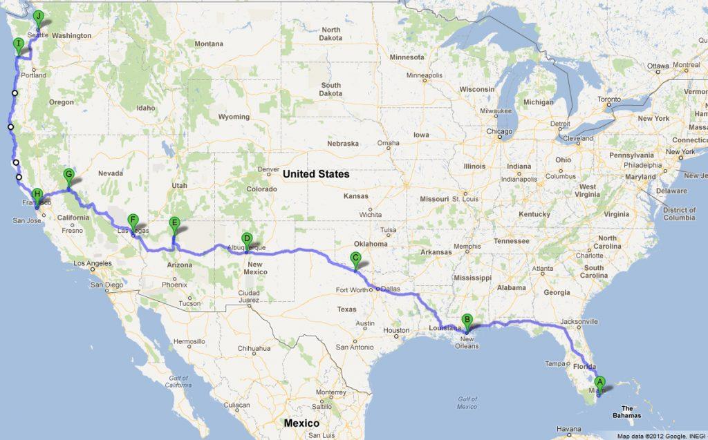 korat: road trip from miami, fl to seattle, wa - google