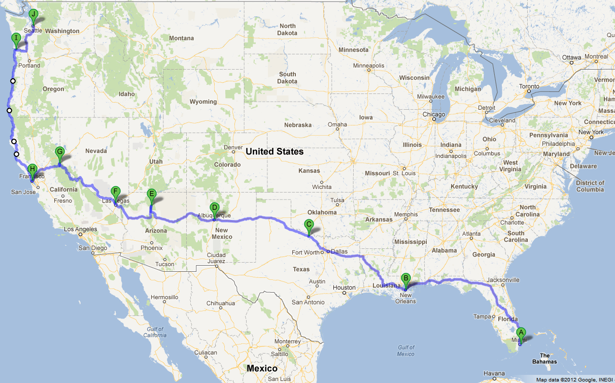 Korat: Road Trip From Miami, Fl To Seattle, Wa - Seattle To California Road Trip Map