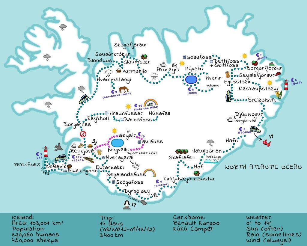 Kort Af Íslandi- Really Great Map! | Icelandic Roadtrip | Iceland - Printable Road Map Of Iceland