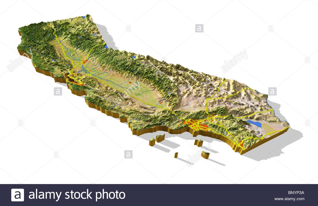 La Californie, 3D Relief Map Cut-Out Avec Les Zones Urbaines Et Les - California Relief Map