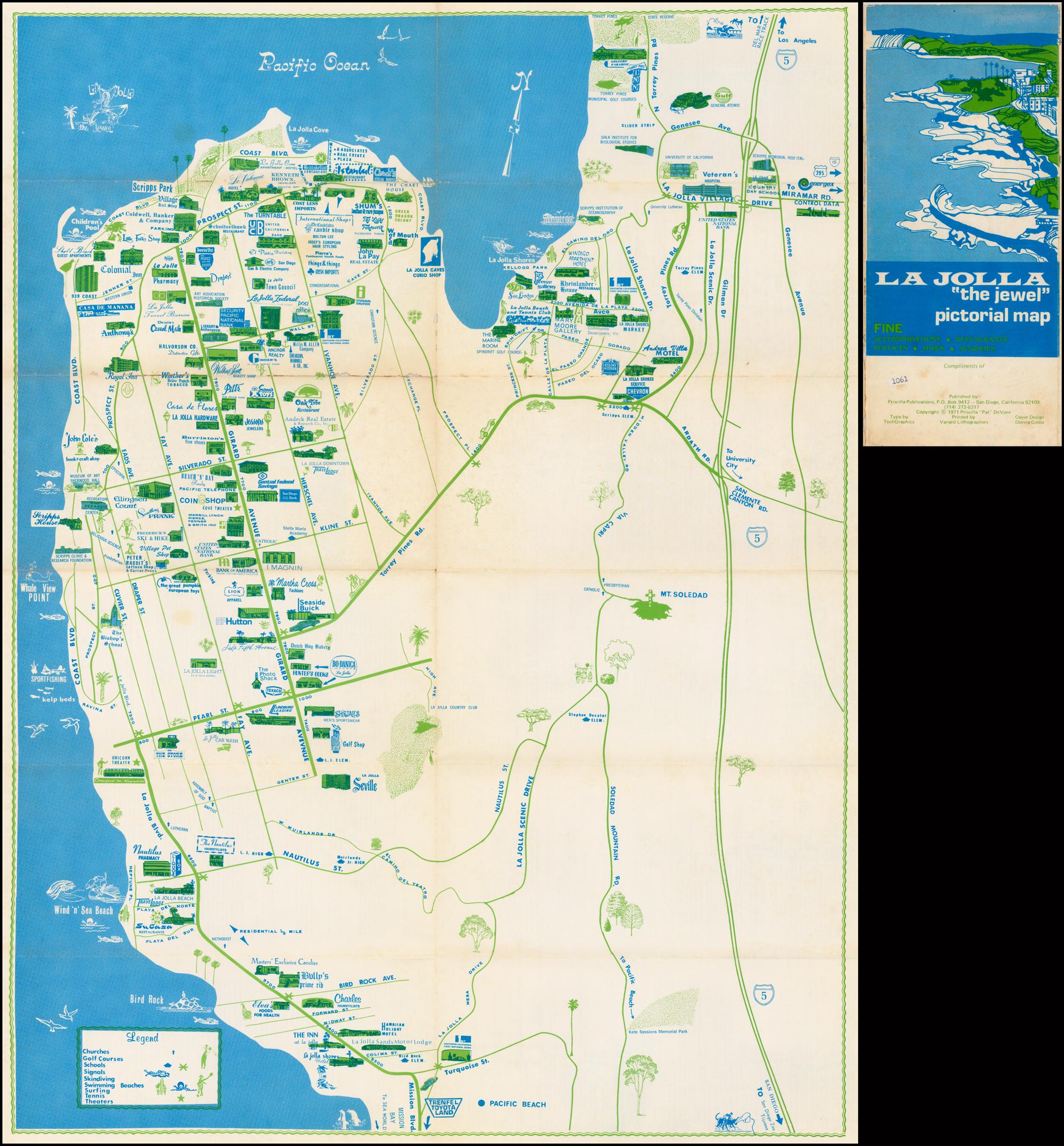 "La Jolla ""the Jewel"" - Barry Lawrence Ruderman Antique Maps Inc. - La Jolla California Map"