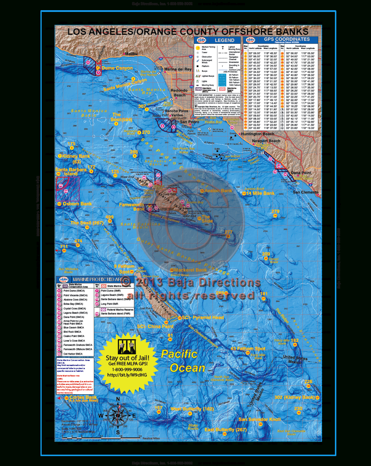 La / Orange County Offshore Banks - Baja Directions - Southern California Ocean Fishing Maps