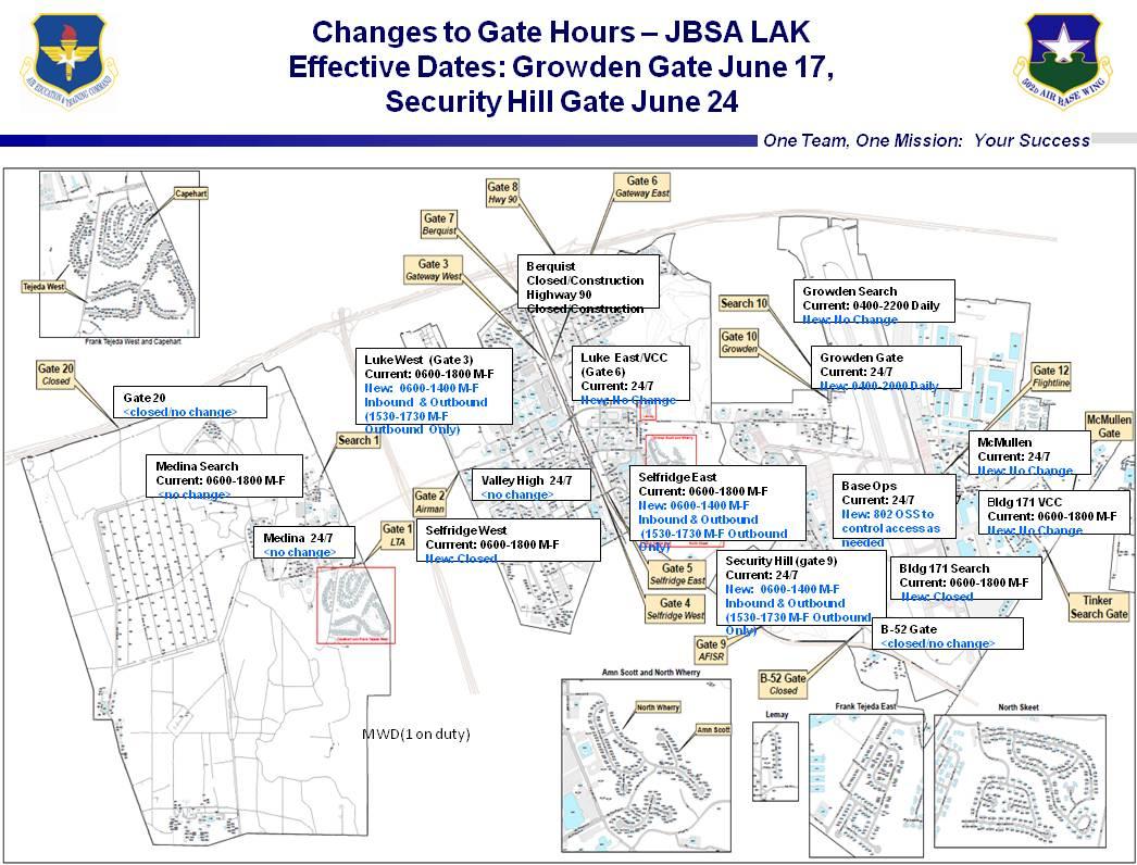Lackland Afb Gate Hours Changes (Center, West: 2013, Construction - Lackland Texas Map