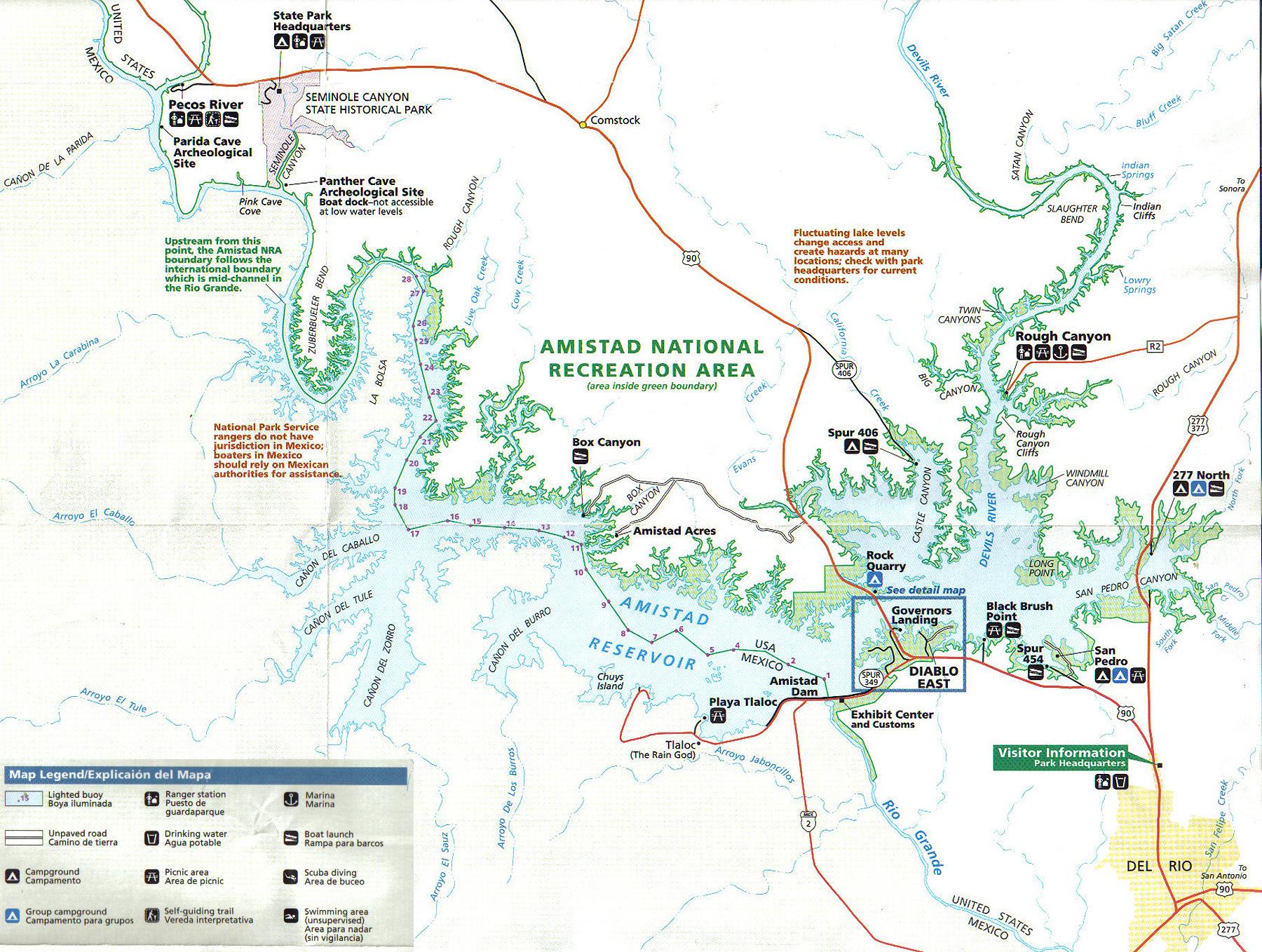 Lake Amistad Information Fishing Guide Kurt Dove - Top Spot Fishing Maps Texas