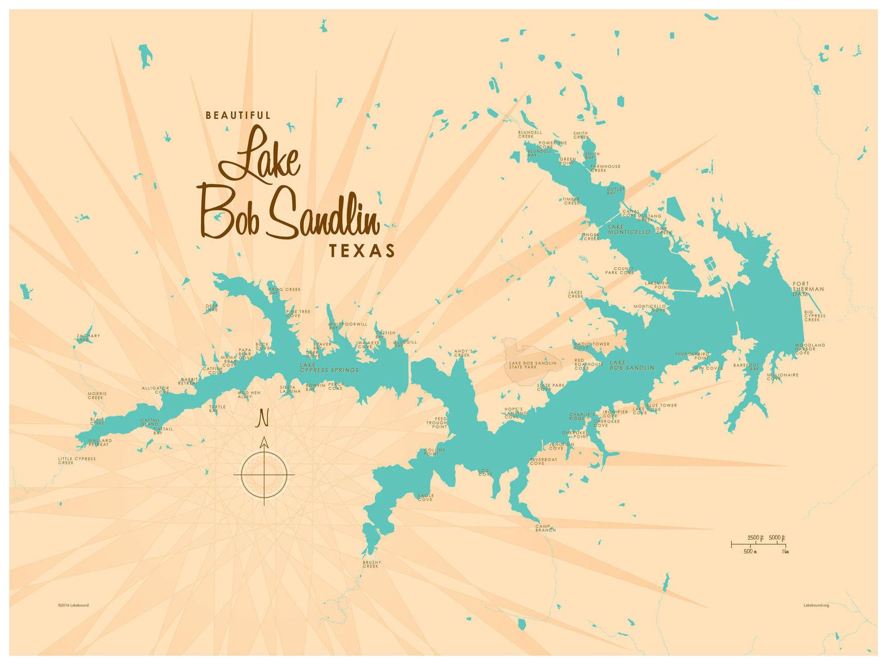 Lake Bob Sandlin Texas Map Vintage-Style Art Printlakebound (9 - Texas Map Art