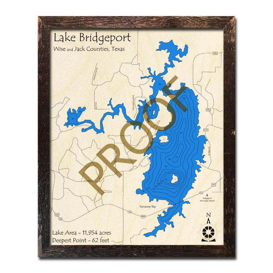 Lake Bridgeport, Texas 3D Wooden Map | Framed Topographic Wood Chart - Bridgeport Texas Map