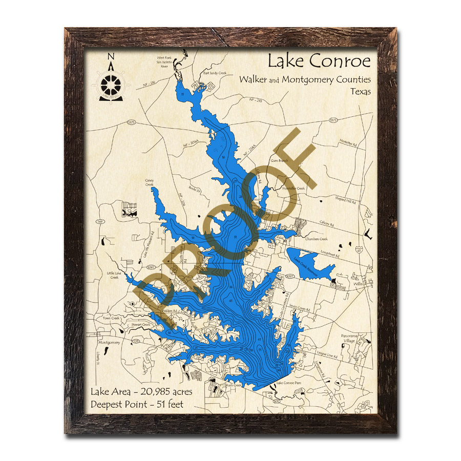 Lake Conroe, Texas 3D Wooden Map   Framed Topographic Wood - Map Of Lake Conroe Texas