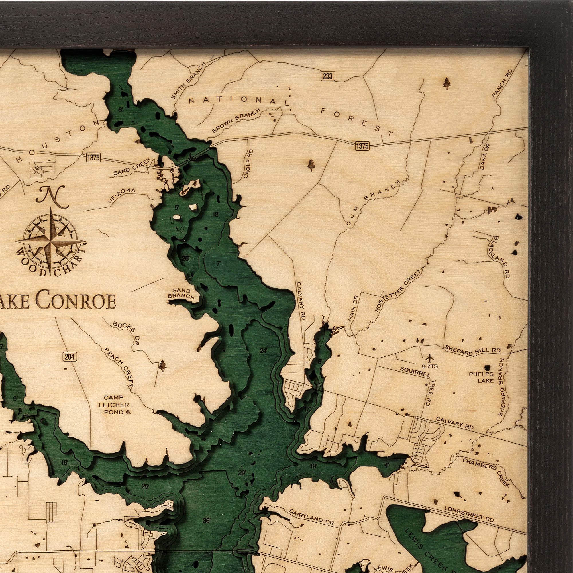 Lake Conroe Wood Map   3D Nautical Topographic Chart   Framed Art - Map Of Lake Conroe Texas