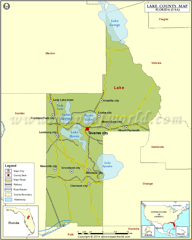 Lake County Map, Florida - Map Of Florida Counties And Cities