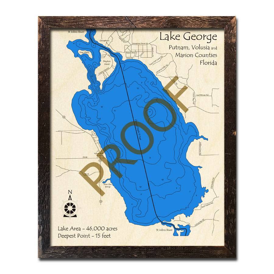 Lake George, Fl Wood Map | 3D Topographic Wood Chart - Lake George Florida Map