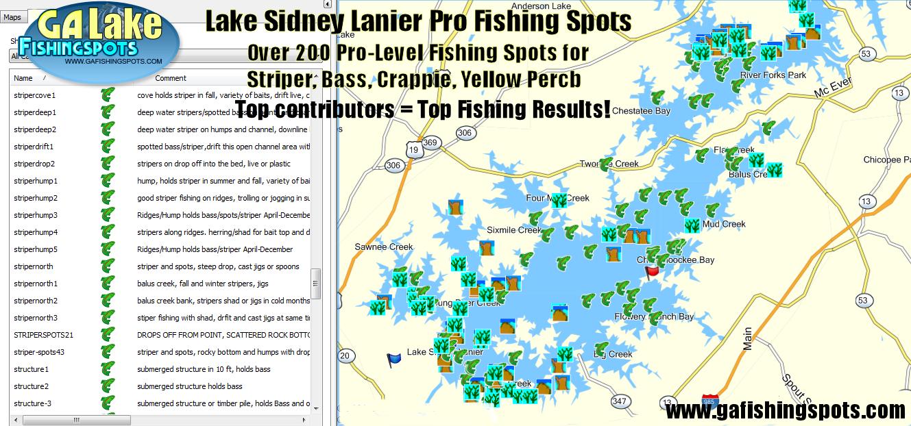 Lake Lanier Fishing Map, Fishing Spots For Bass, Striper, Crappie - Texas Fishing Hot Spots Maps