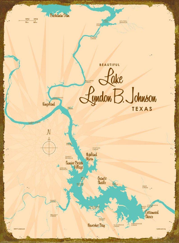 Lake Lbj Tx Map Art Wood Or Metal Sign   Etsy - Sunrise Beach Texas Map