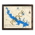 Lake 'o The Pines, Tx 3D Wooden Map | Framed Topographic Wood Chart   Lake Of The Pines Texas Map