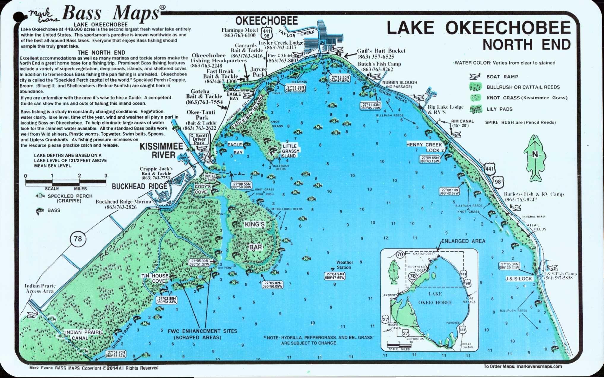 Lake Okeechobee Map   Lake Okeechobee North (North End & Lakeport - Florida Fishing Lakes Map