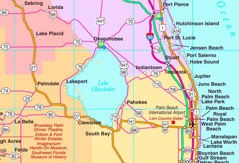 Lake Okeechobee Road Map - Lake Okeechobee Florida Map
