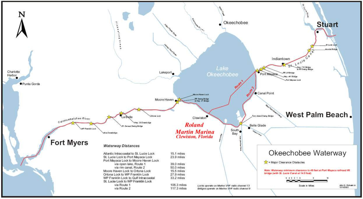 Lake Okeechobee Waterway Locks | Roland Martin Marina - Florida Waterways Map