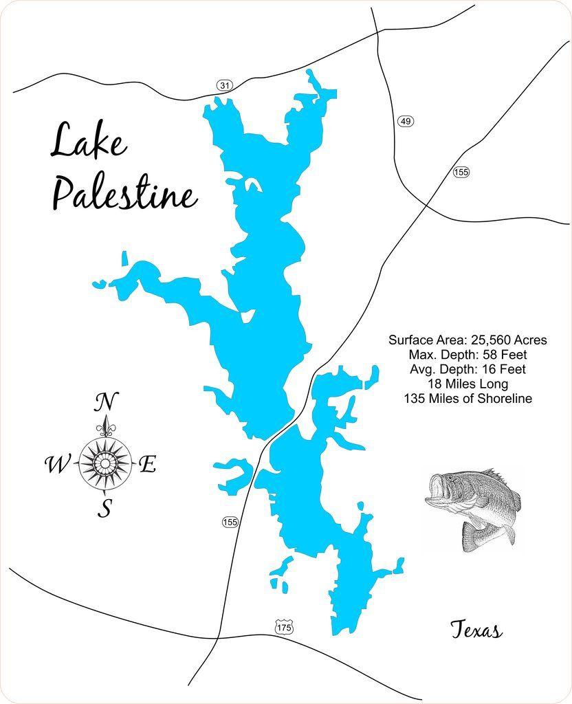 Lake Palestine, Texas - Wood Laser Cut Map | Lake Palestine Texas - Palestine Texas Map