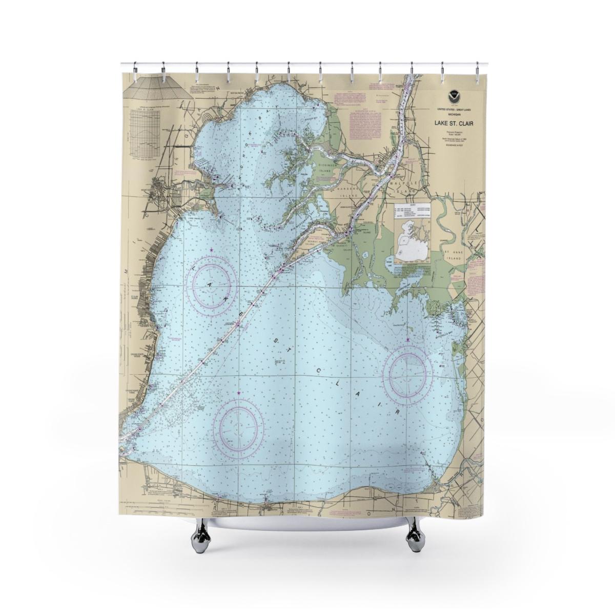 Lake St Clair Nautical Chart Shower Curtains · Chart Mugs - Texas Map Shower Curtain
